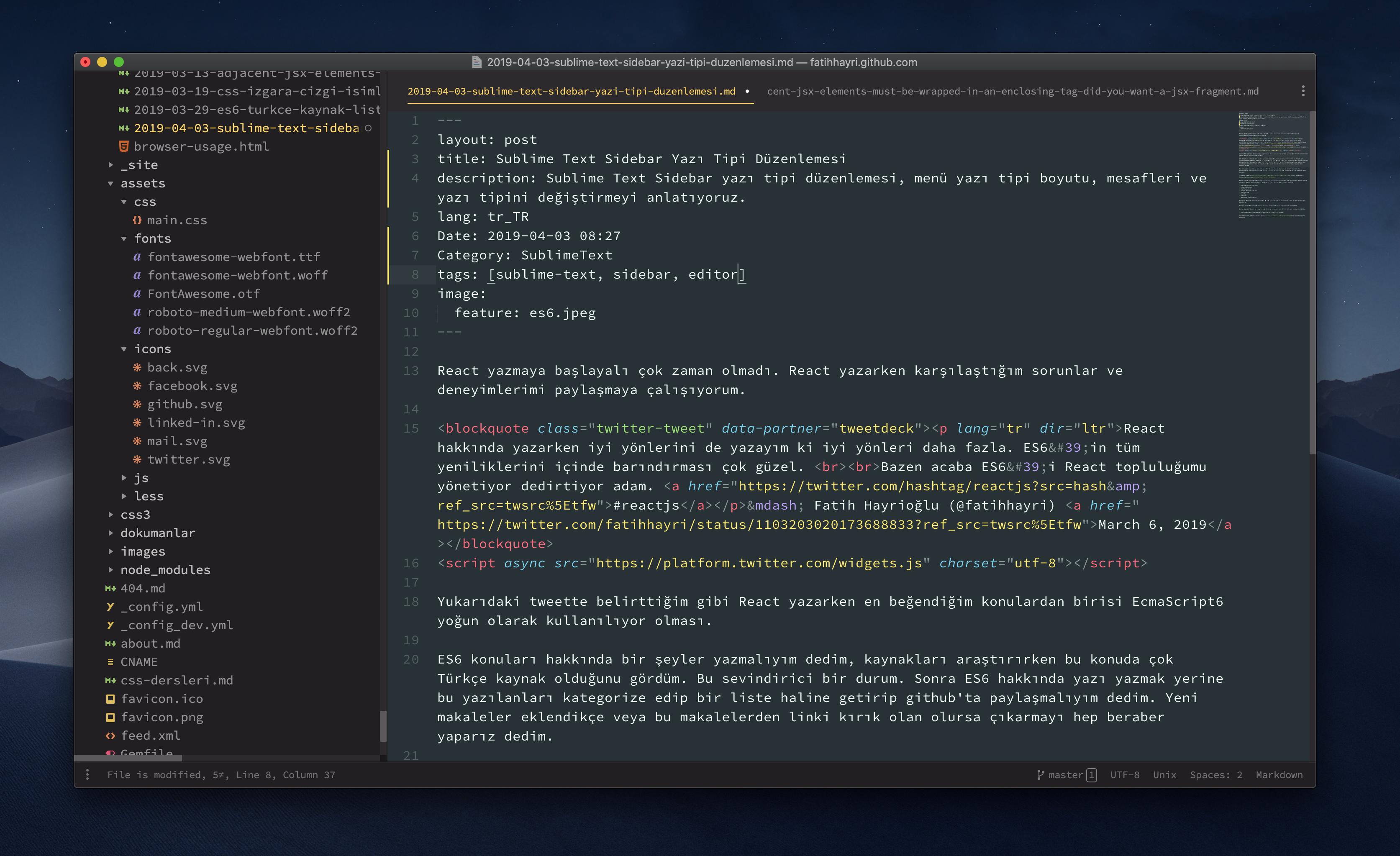 Sublime Text Sidebar Yazı Tipi Düzenlemesi